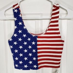 Red, White & Blue USA Flag Crop Top⭐⭐⭐